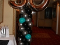50th birthday column in black, silver and blue